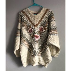 Vintage Chunky Knit Sweater Embroidered Flowers M